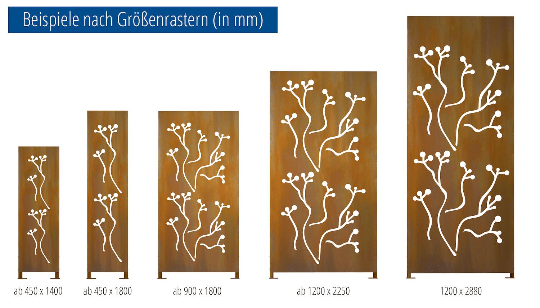 Sichtschutz Cortenstahl Stele Murmelbaum