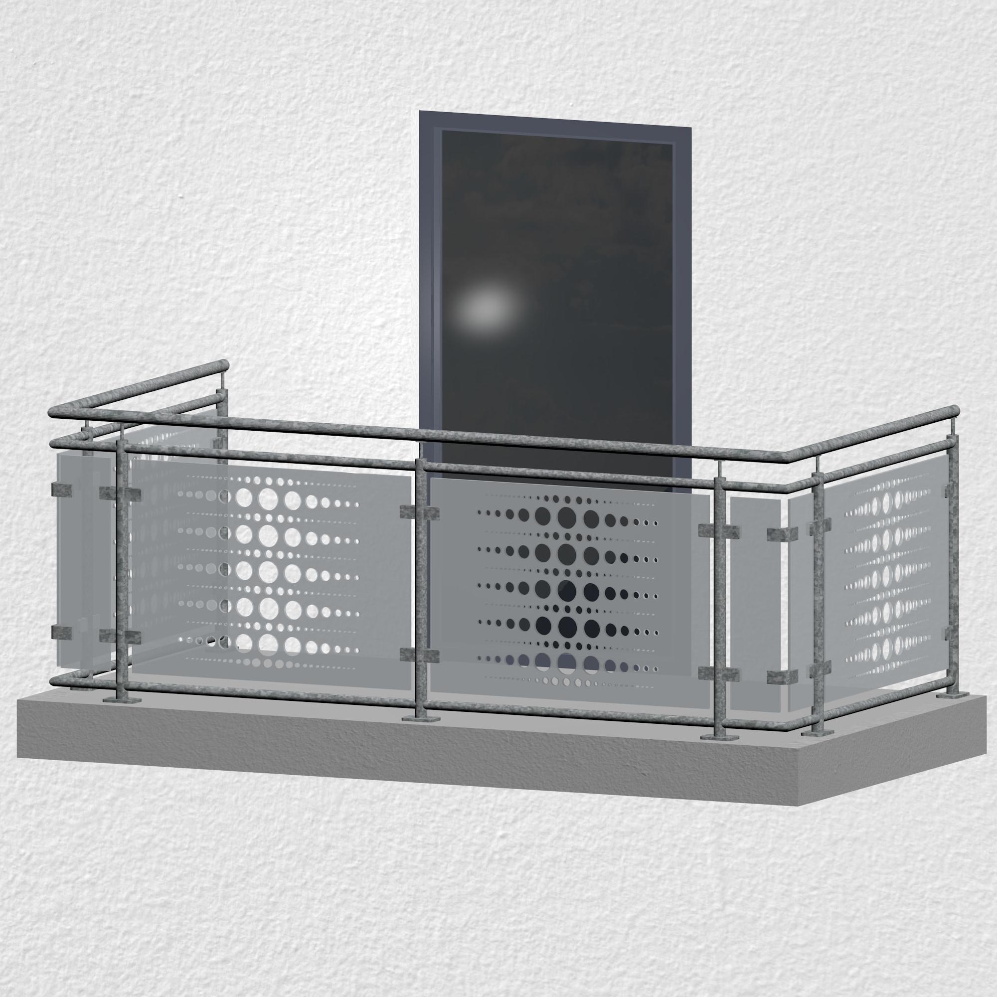 Balkongeländer verzinkt Designglas PE 2