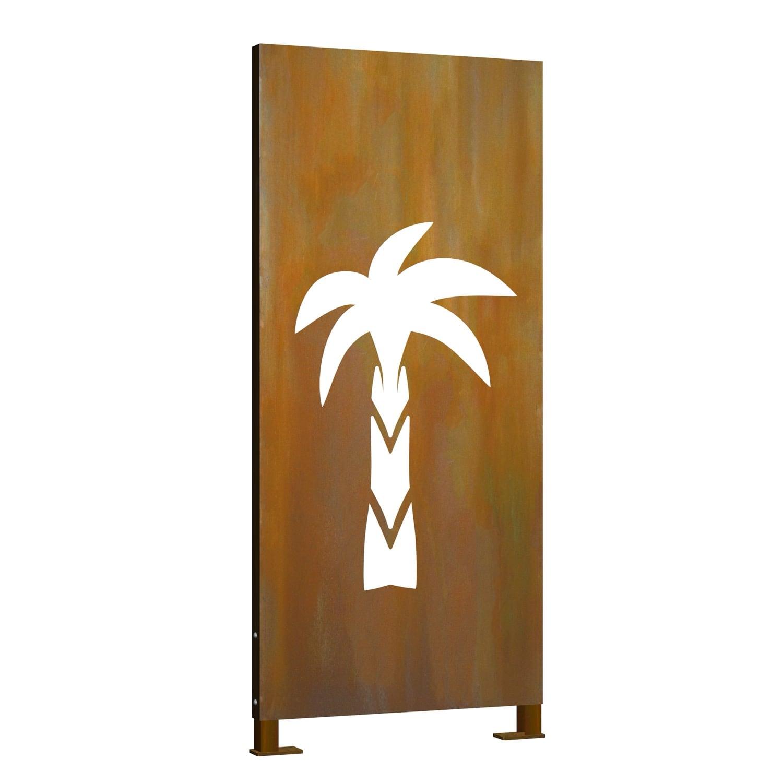 Sichtschutz Cortenstahl Stele Palme 2