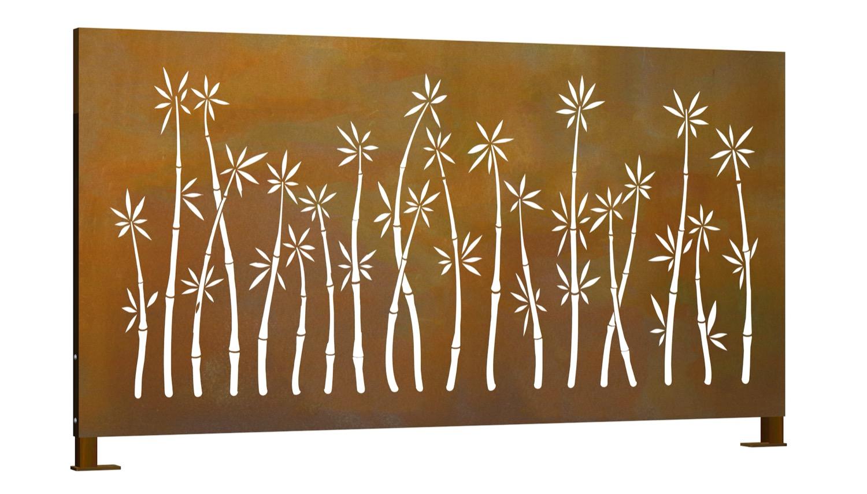 Sichtschutz Cortenstahl Stele Bambusbusch Querformat