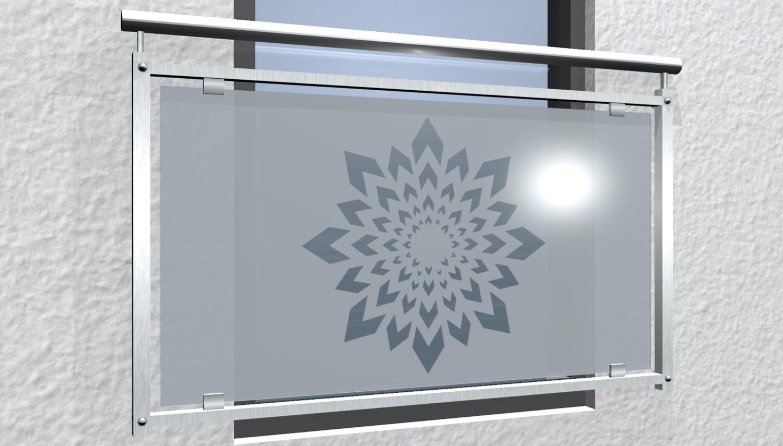 Französischer Balkon Edelstahl Designglas KL