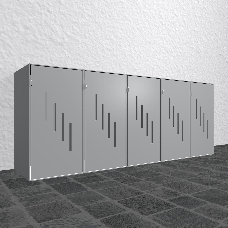 Design Mülltonnenbox Alu Cube Streifen gestuft