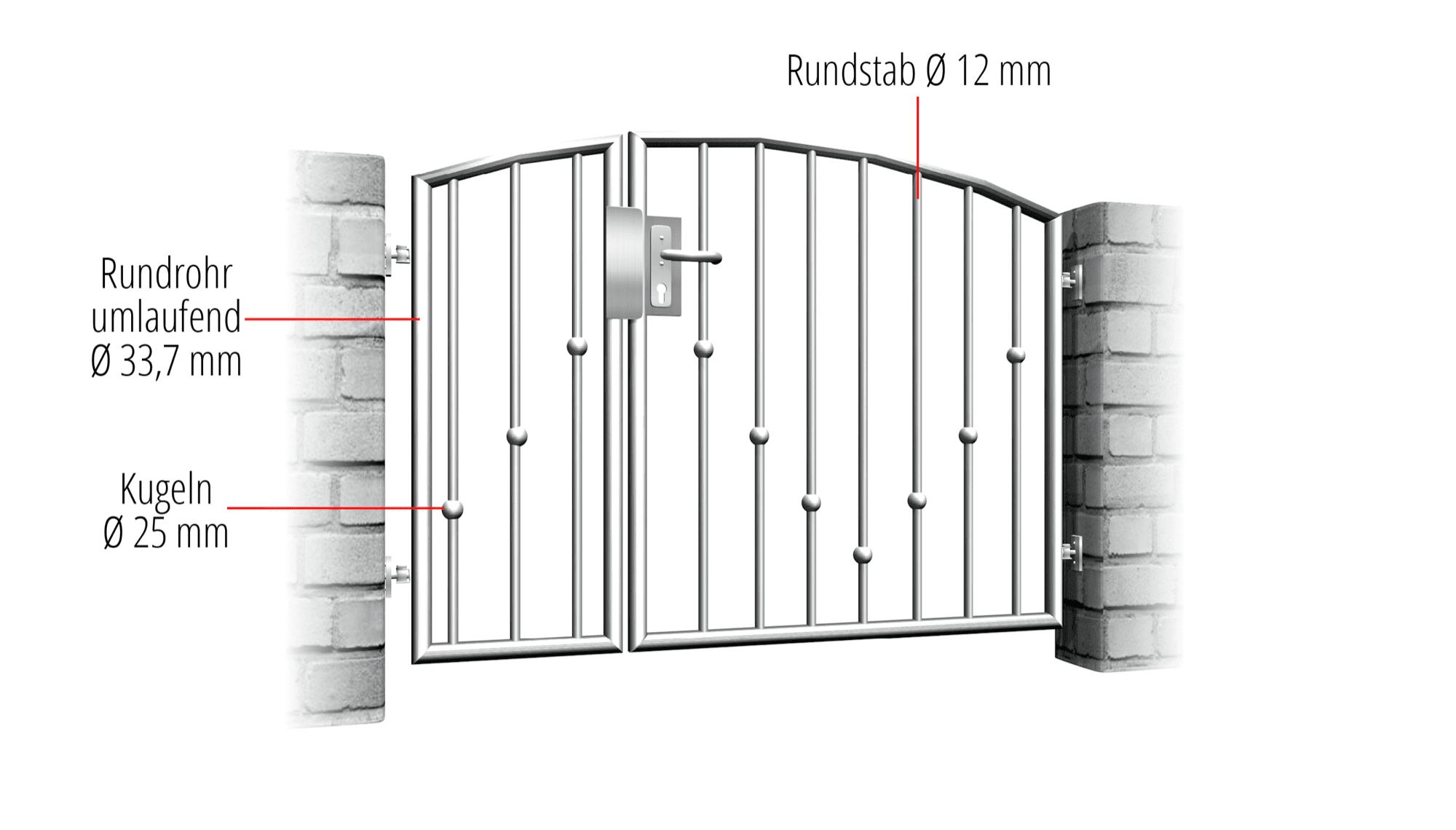 Gartentür Edelstahl 2-flügelig V-Kugeln, OB