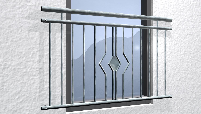 Französischer Balkon verzinkt Rhombus Ornament