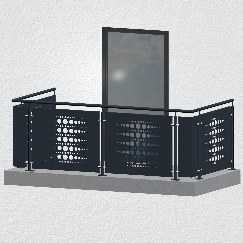 Balkongeländer verzinkt Designblech PE 2