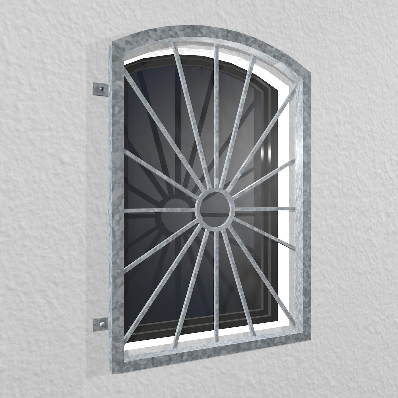 Fenstergitter verzinkt Sonne Kreis Oberbogen