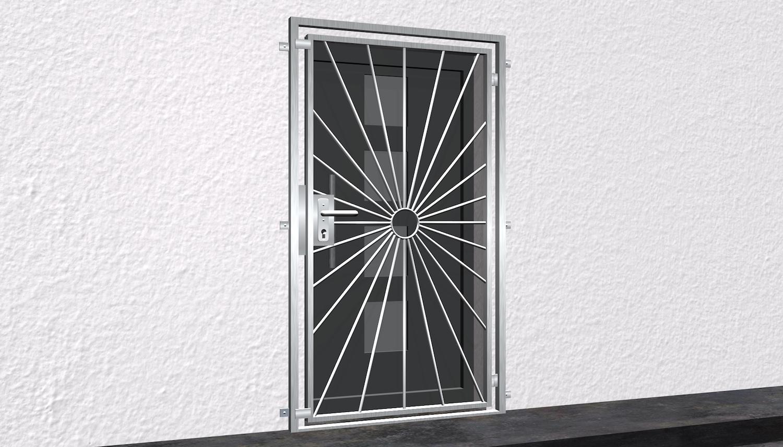 Gittertür Edelstahl Sonne Kreis