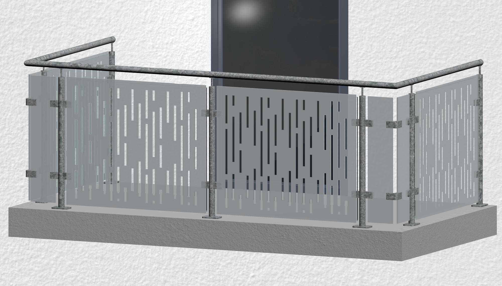 Balkongeländer verzinkt Designglas SF VE MO