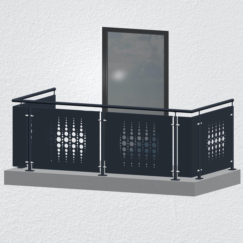 Balkongeländer verzinkt Designblech PE
