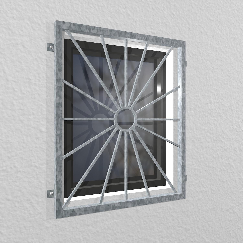 Fenstergitter verzinkt Sonne Kreis