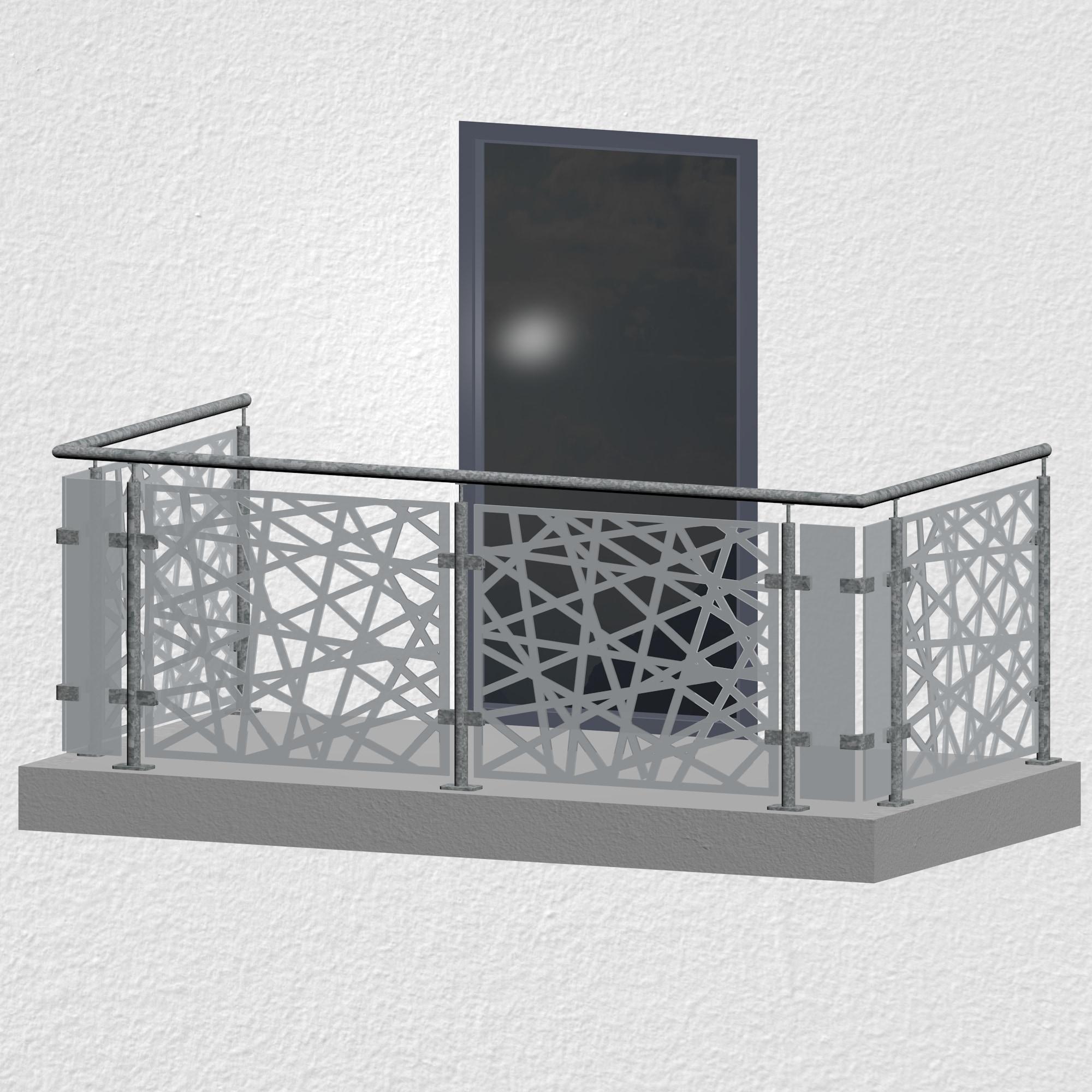 Balkongeländer verzinkt Designglas AB 1 MO