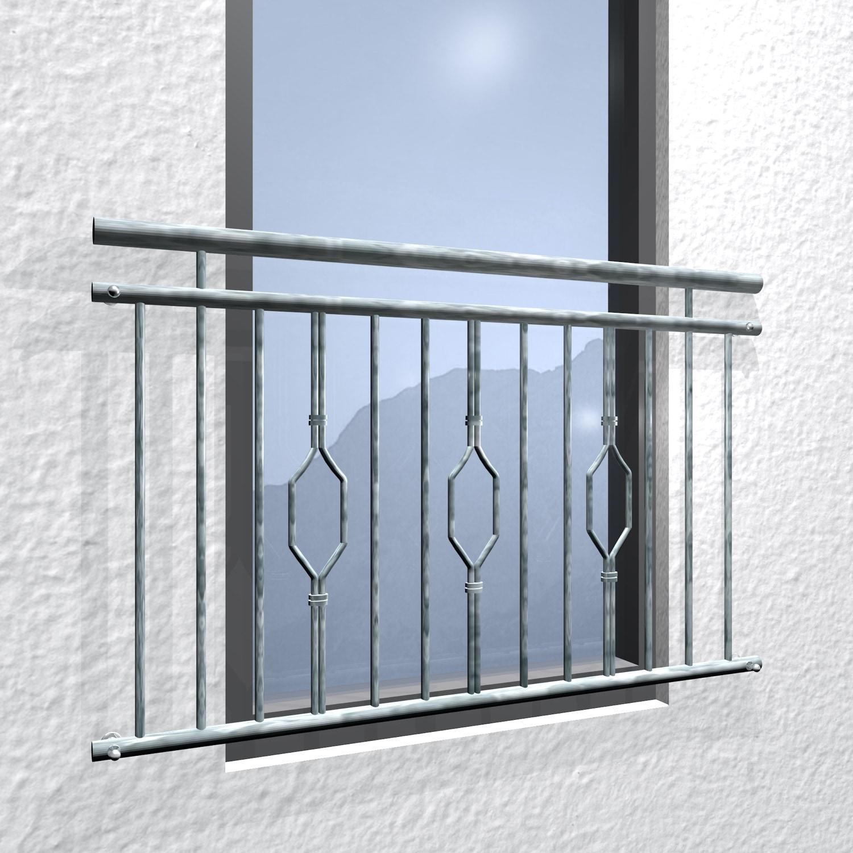 Französischer Balkon verzinkt 6-Eck Triple Ornament