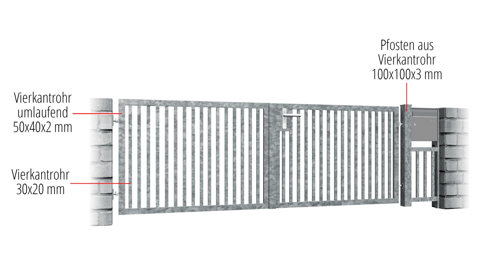 Gartentor verzinkt 2-flügelig Massiv, GE, BK