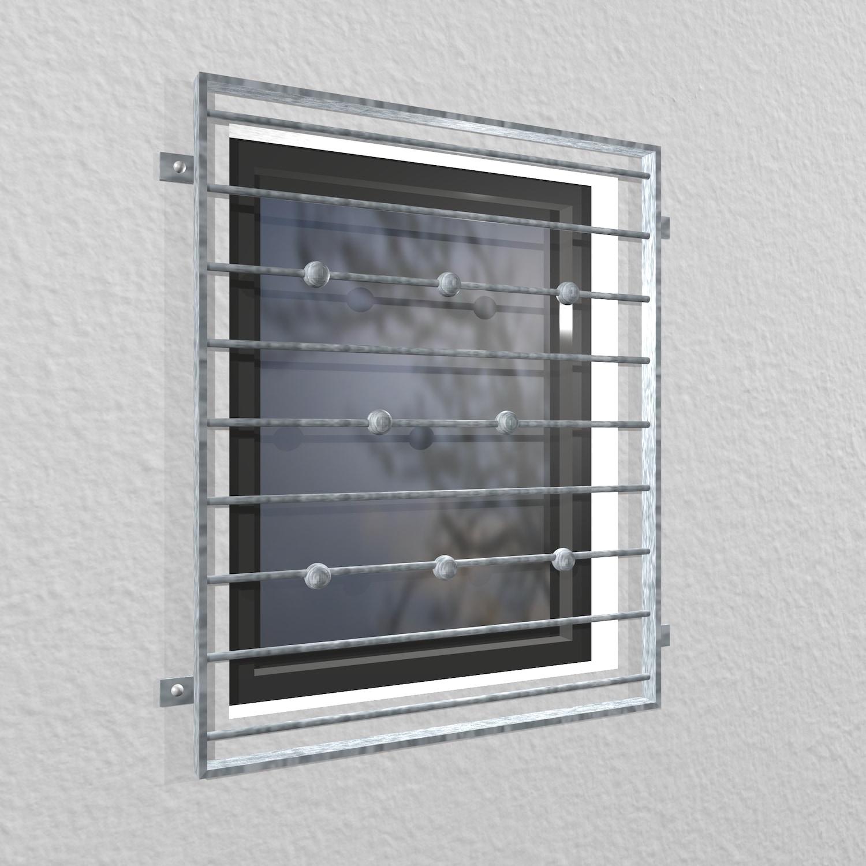 Fenstergitter verzinkt Querstab Kugel