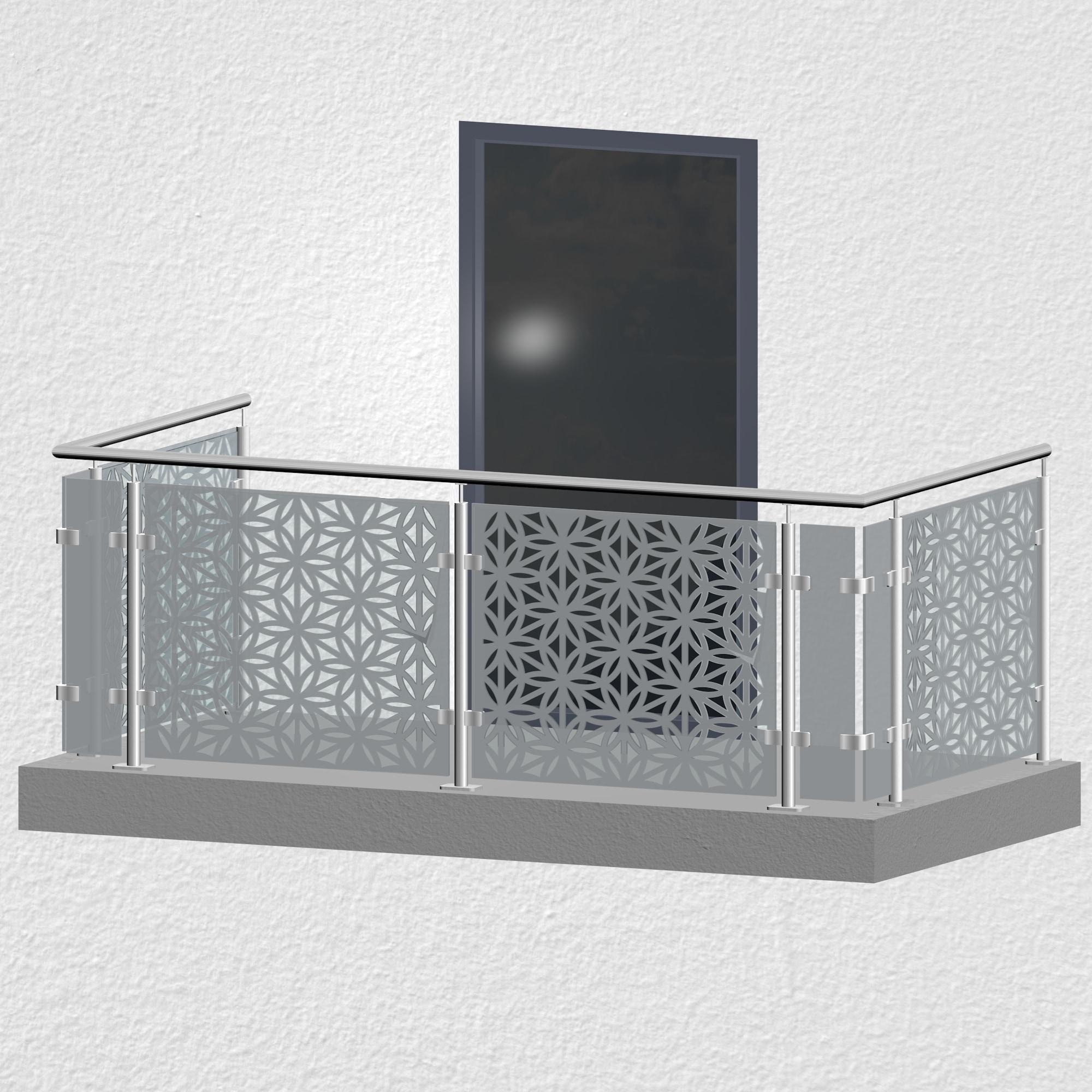Balkongeländer Edelstahl Designglas BT MO