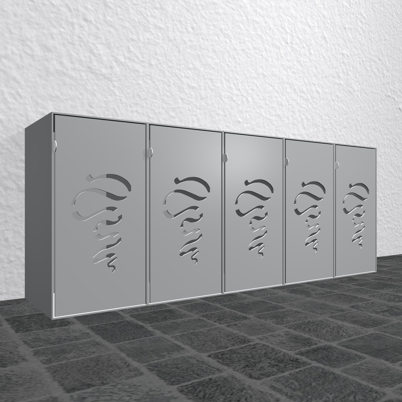 Design Mülltonnenbox Alu Cube Flatterband