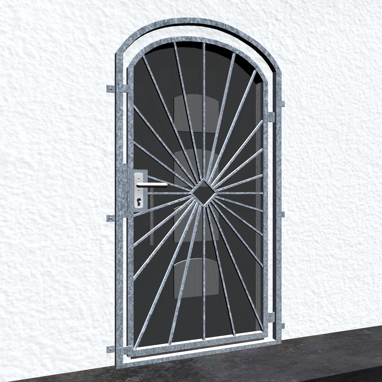 Gittertür verzinkt Sonne Karo Oberbogen