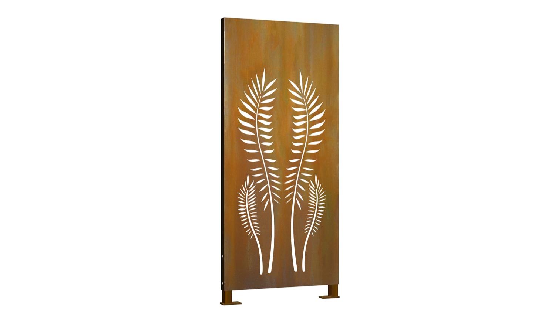 Sichtschutz Cortenstahl Stele Palme