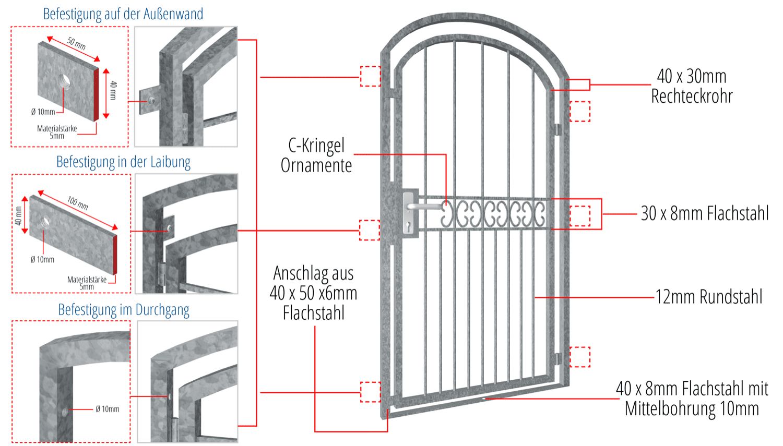 Gittertür verzinkt C-Kringel Oberbogen