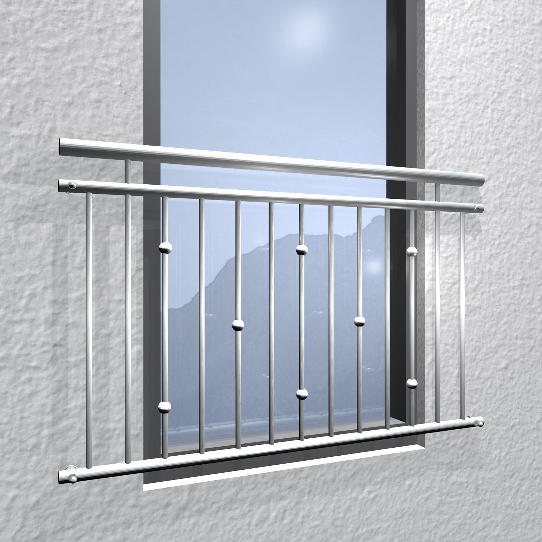 Französischer Balkon Edelstahl Kugeln versetzt