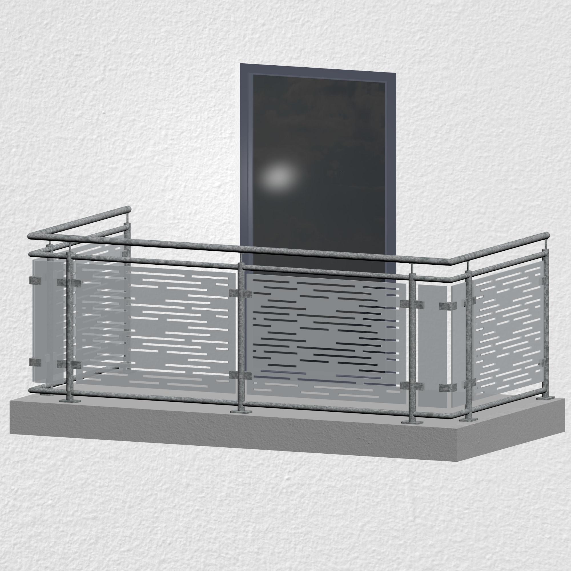 Balkongeländer verzinkt Designglas SF HO