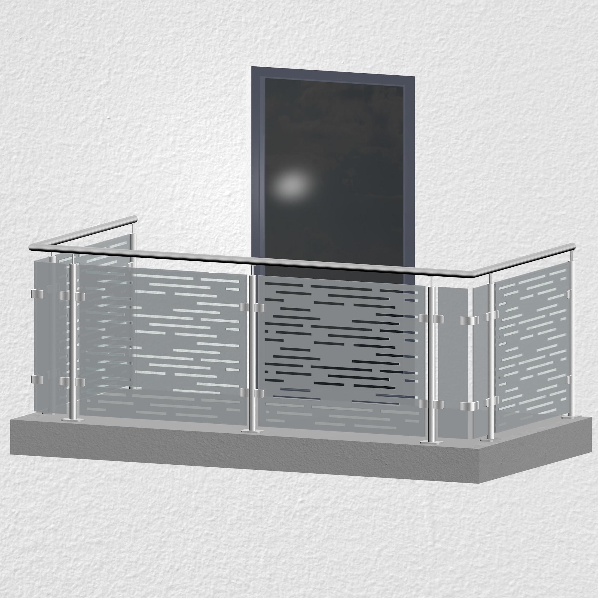Balkongeländer Edelstahl Designglas SF HO MO