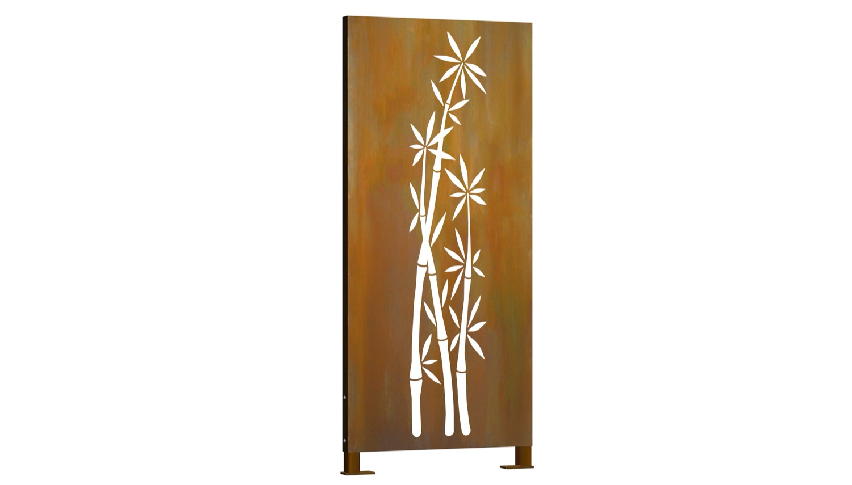 Sichtschutz Cortenstahl Stele Bambusbusch