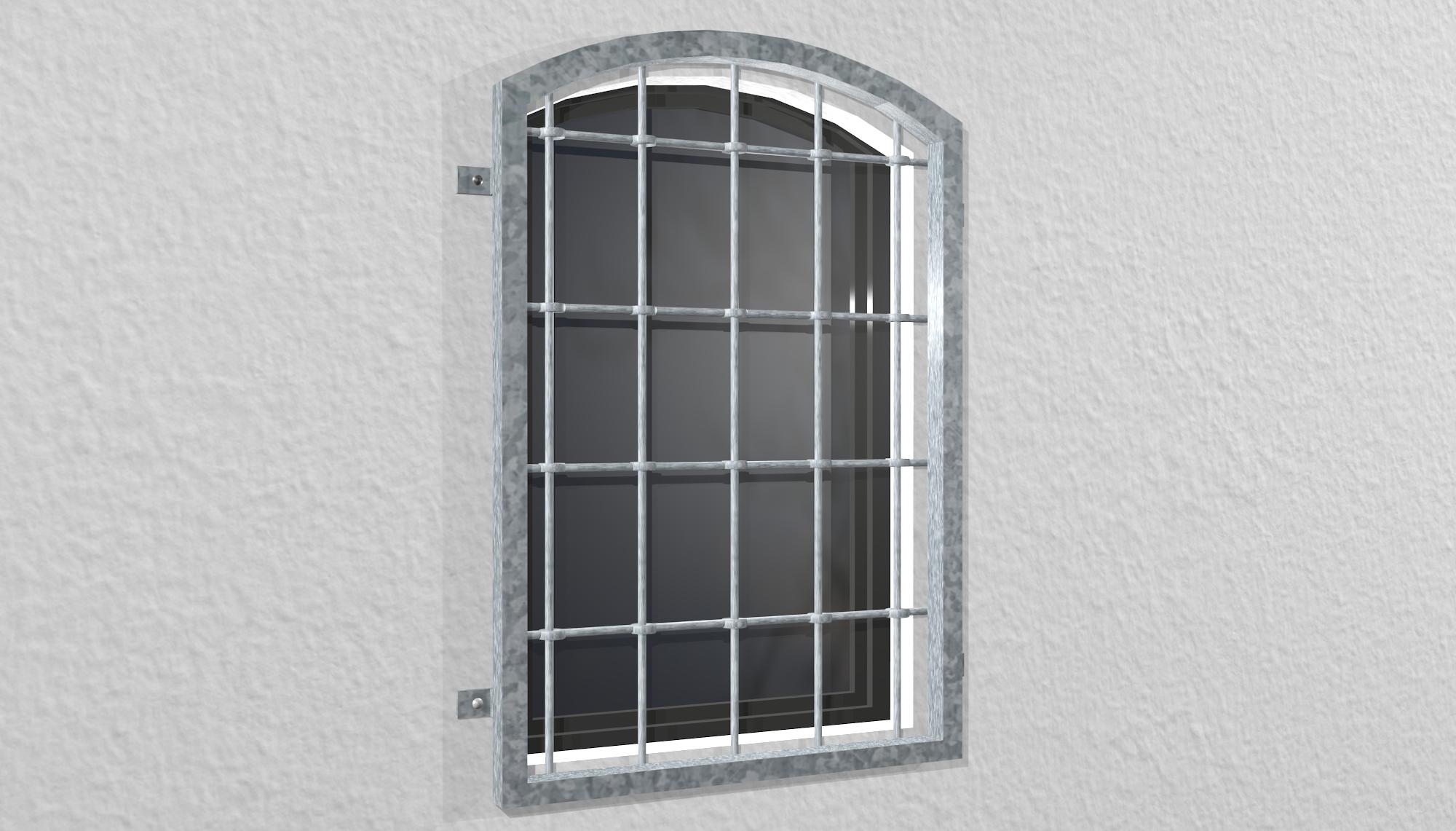 Fenstergitter verzinkt Rundstab Oberbogen