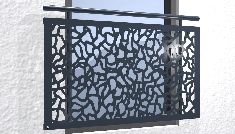 Französischer Balkon verzinkt Designblech Abstrakt 2