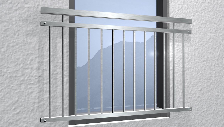 Französischer Balkon Edelstahl Vierkant
