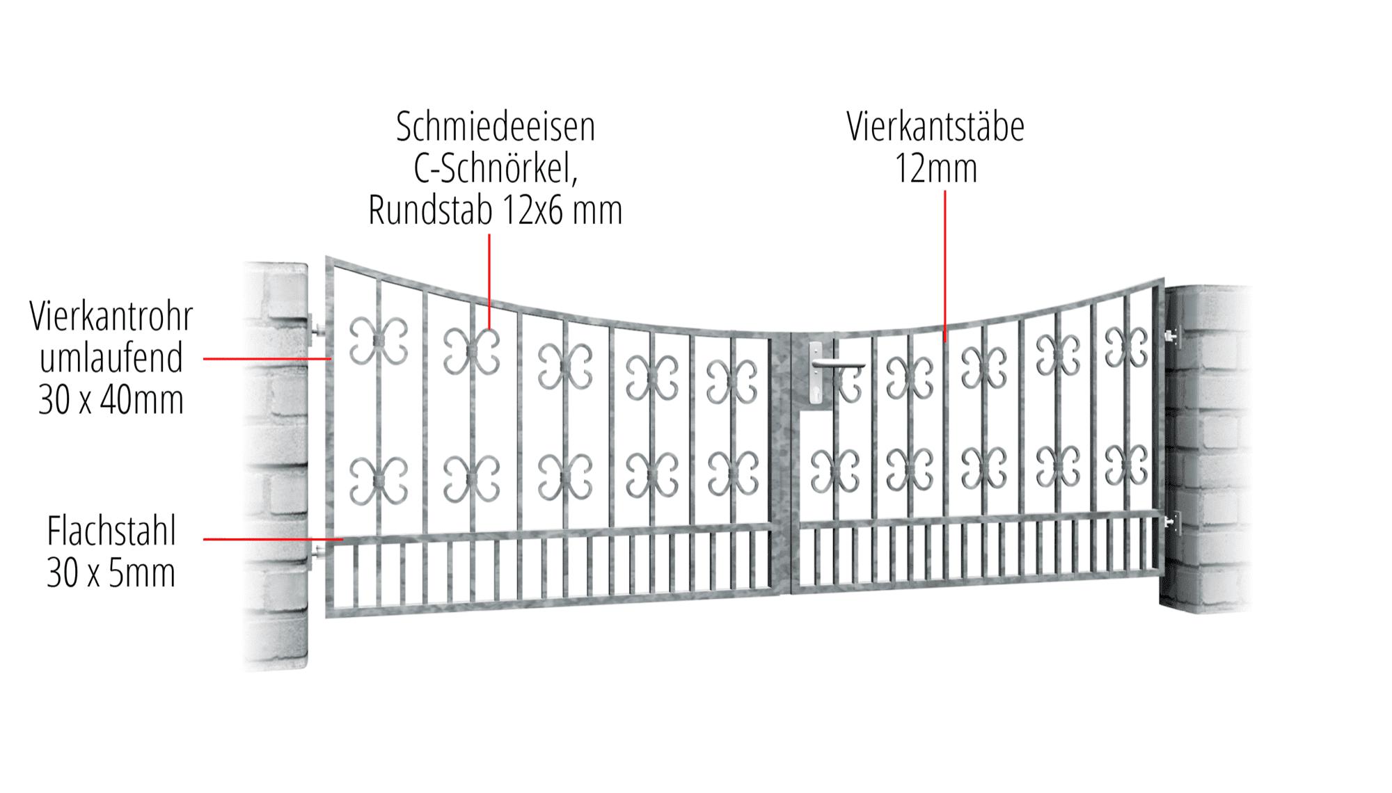 Gartentor verzinkt 2-flügelig Barock, UB