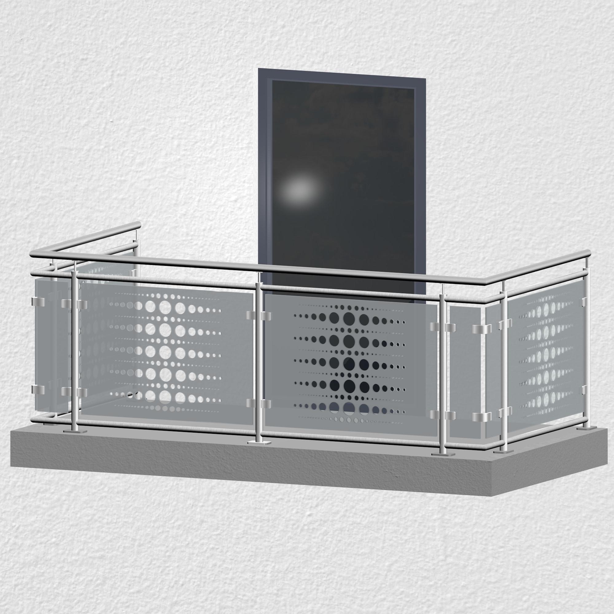 Balkongeländer Edelstahl Designglas PE 2