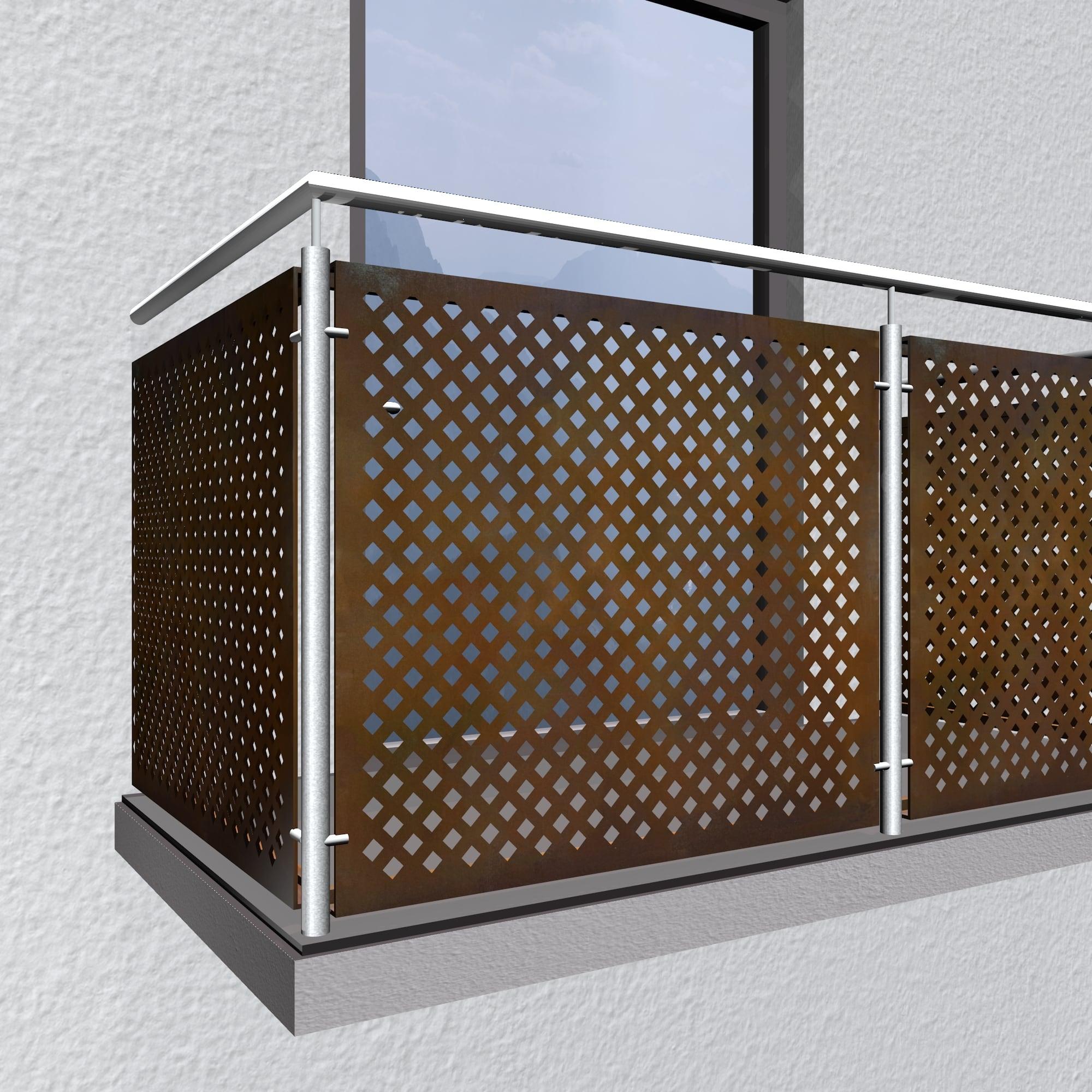 Balkonverkleidung Cortenstahl QL DI VE