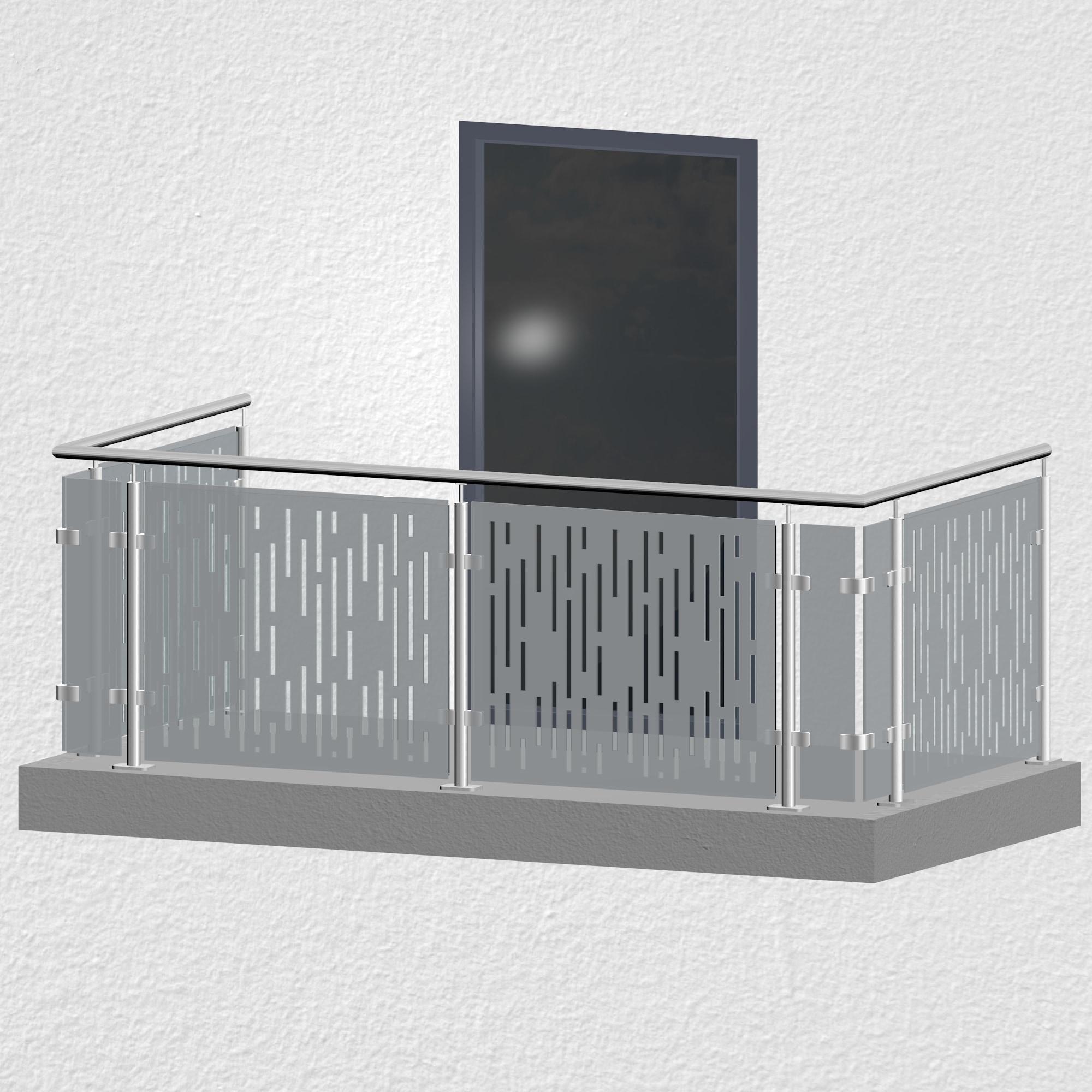 Balkongeländer Edelstahl Designglas SF VE MO