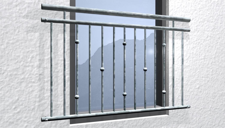 Französischer Balkon verzinkt Kugeln versetzt