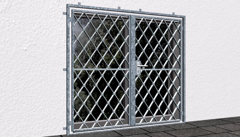 Gittertür verzinkt 2-flügelig Rauten