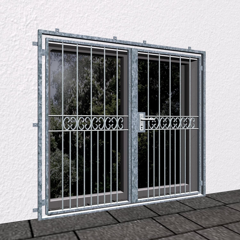 Gittertür verzinkt 2-flügelig C-Kringel