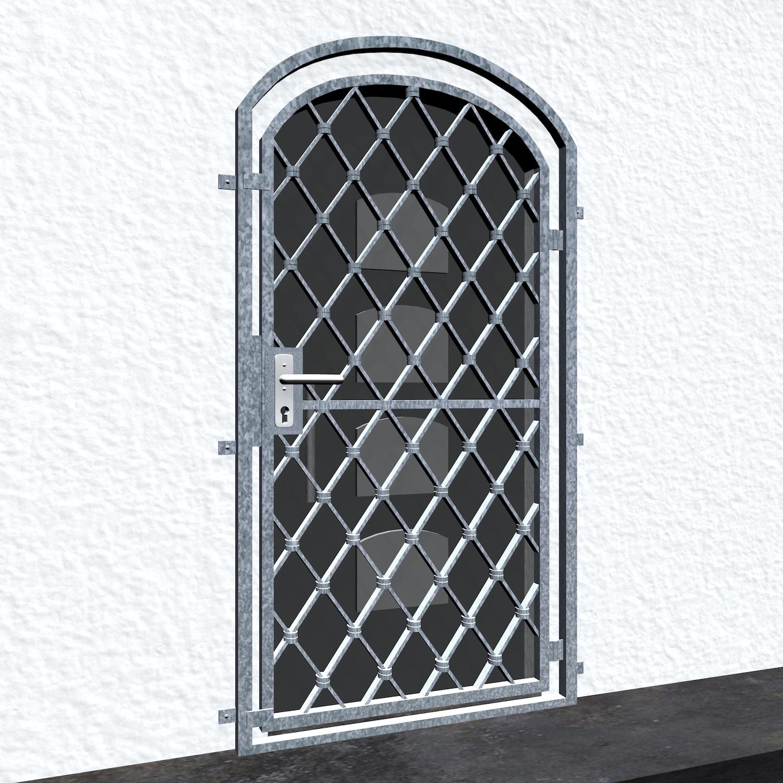 Gittertür verzinkt Rauten Oberbogen