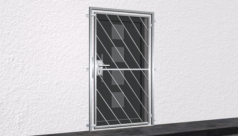 Gittertür Edelstahl Diagonalstab 1