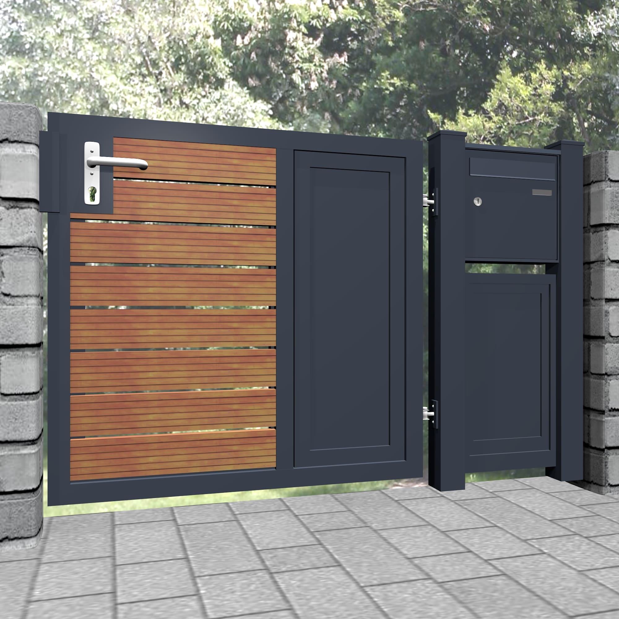 Gartentür Alu-Holz 1-flügelig Sichtschutz KSBHW, GE, BK