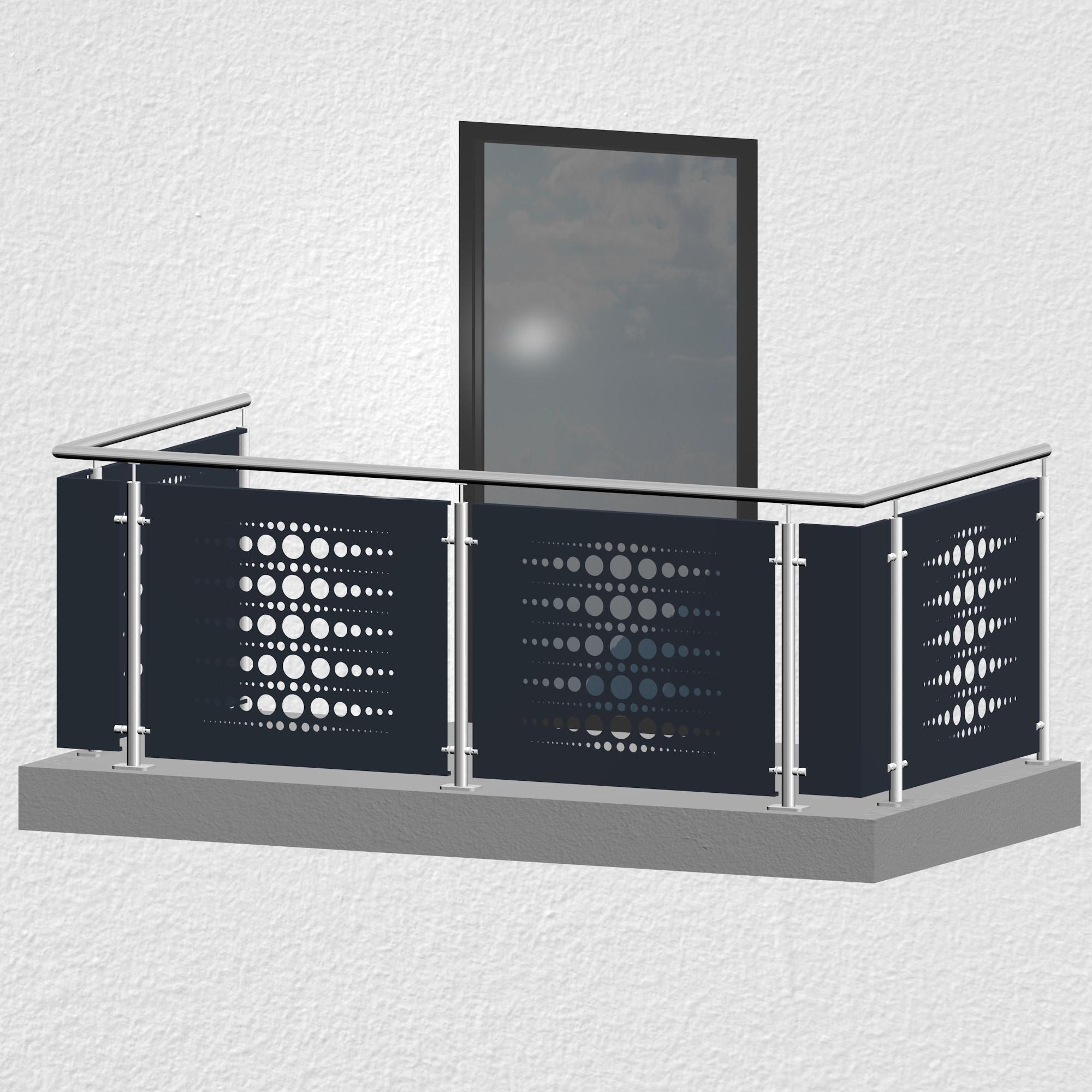 Balkongeländer Edelstahl Designblech PE 2