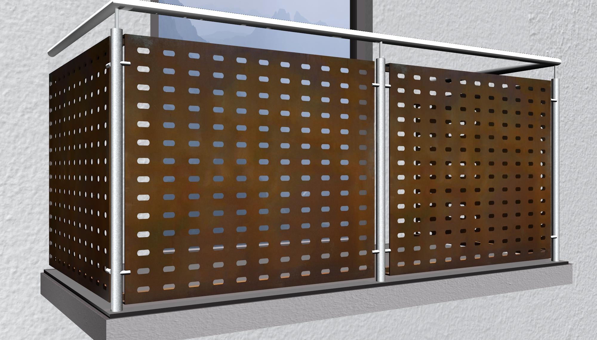 Balkonverkleidung Cortenstahl LL GE