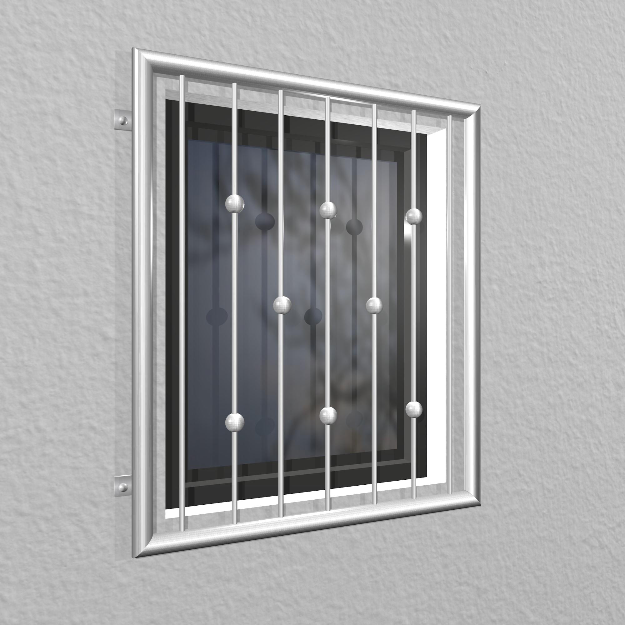 Fenstergitter Edelstahl Kugeln versetzt