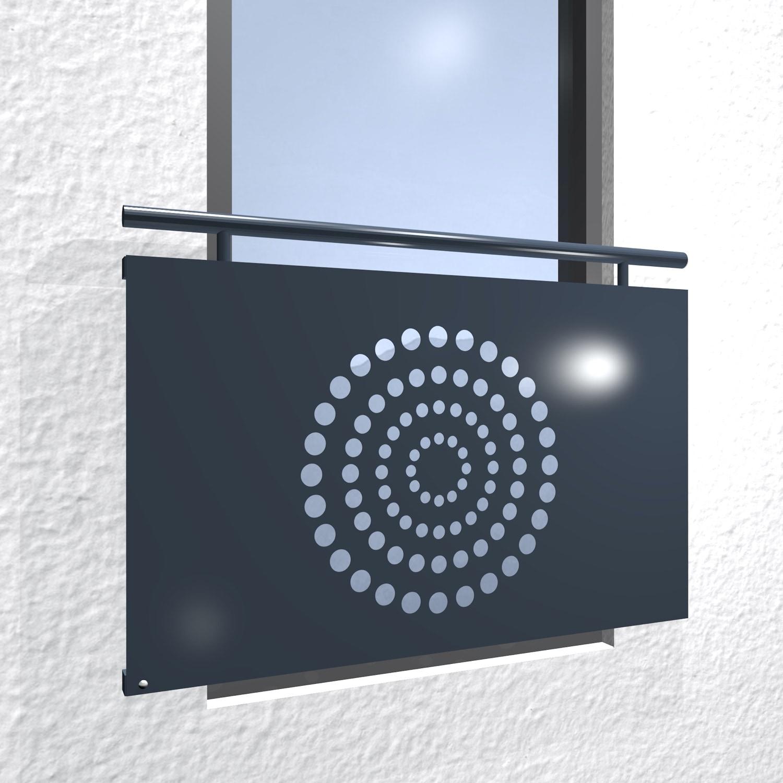 Französischer Balkon verzinkt Designblech Kreisringe