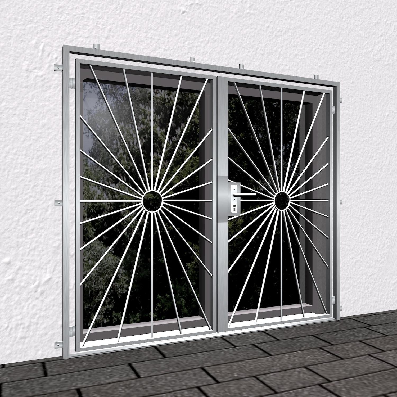 Gittertür Edelstahl 2-flügelig Sonne Kreis