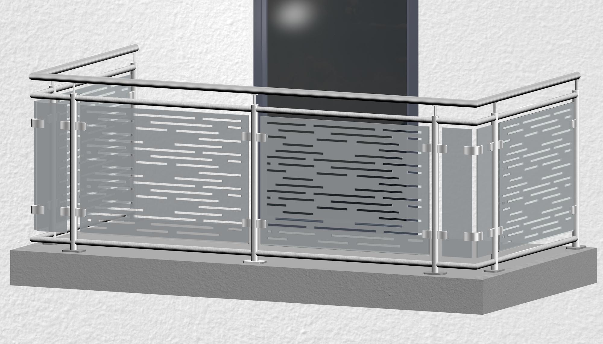 Balkongeländer Edelstahl Designglas SF HO