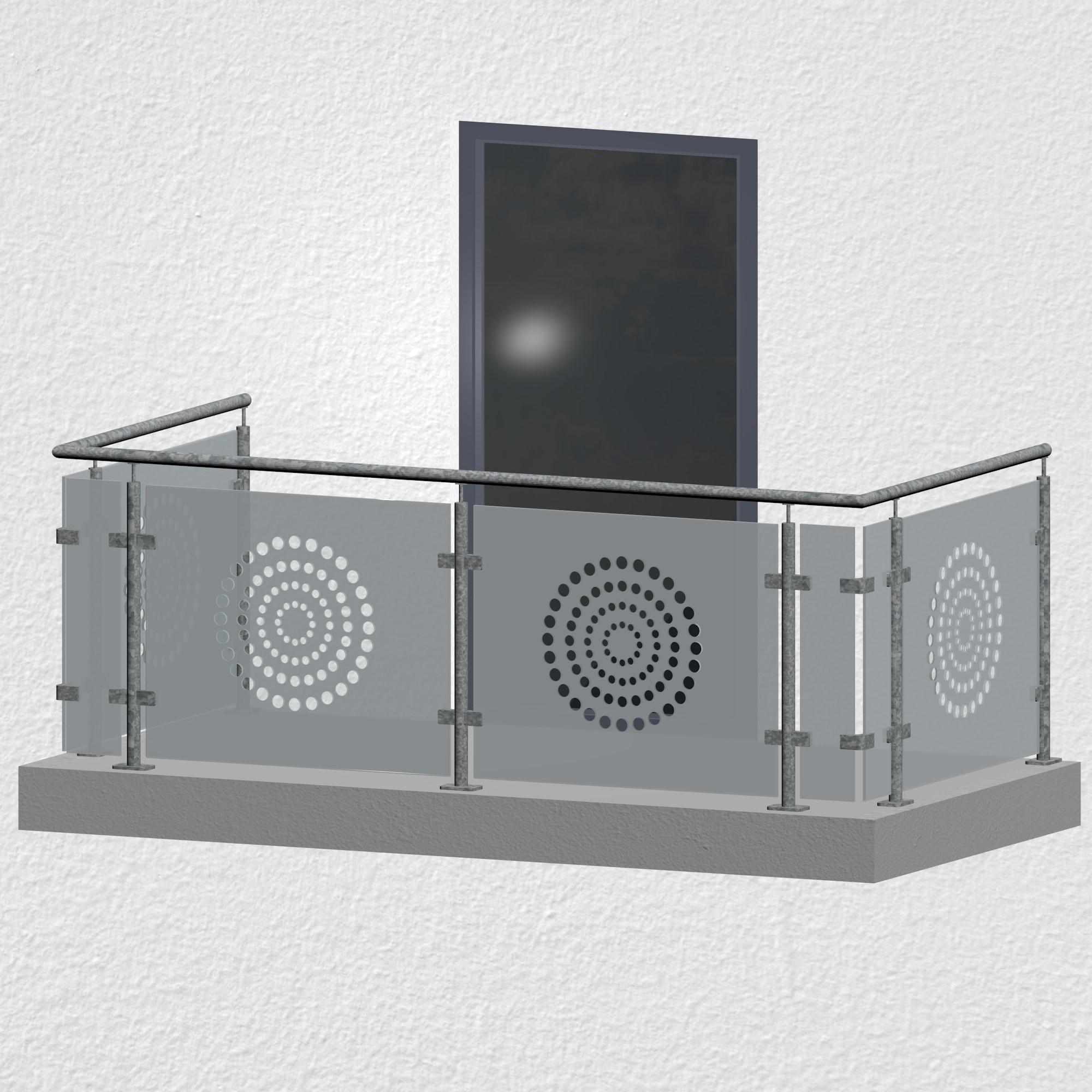 Balkongeländer verzinkt Designglas KR MO