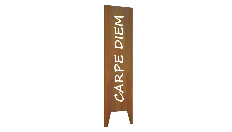 Gartenstele Cortenstahl Carpe Diem