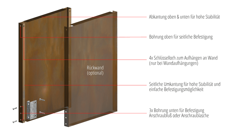 Sichtschutz Cortenstahl Stele Farn