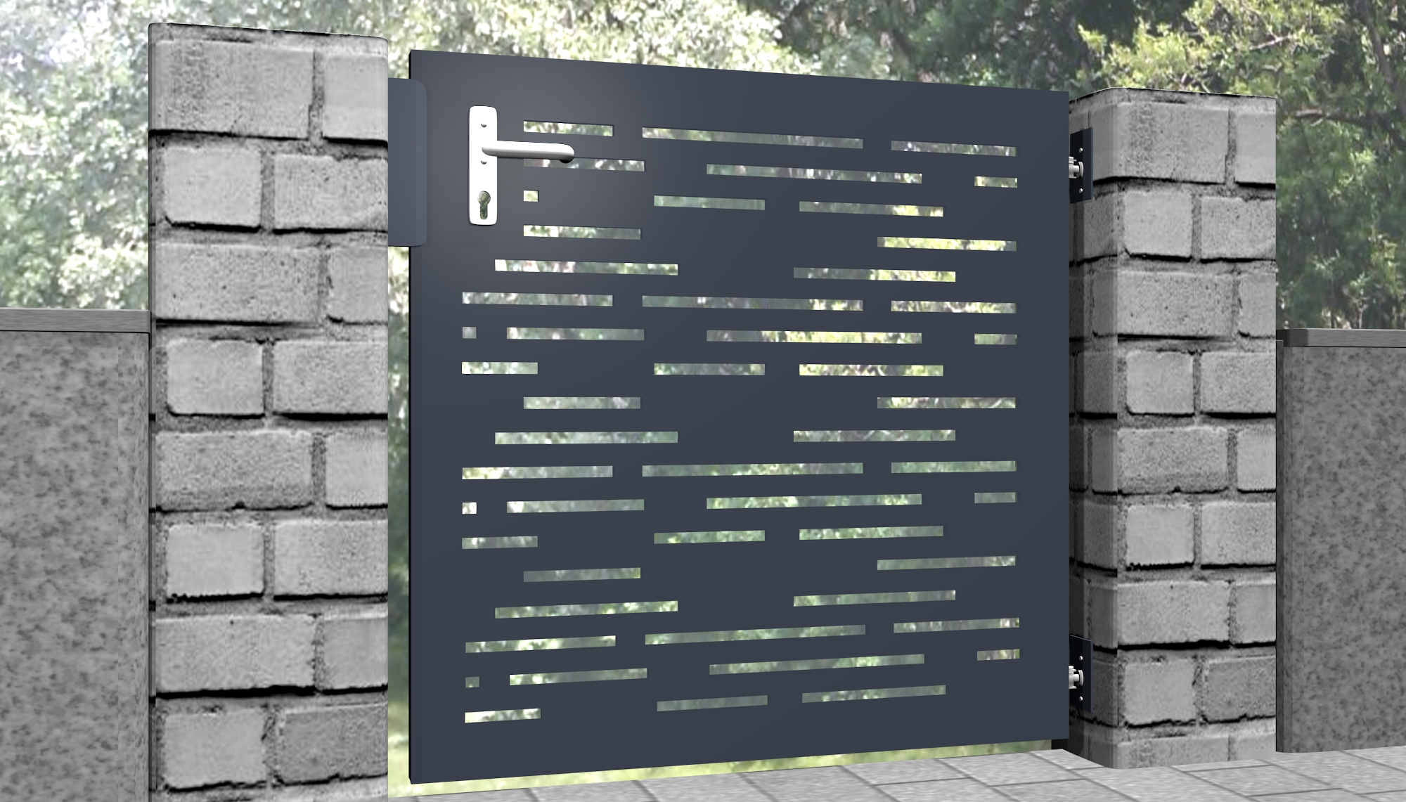Gartentür Alu 1-flügelig Laserschnitt Design SF HO
